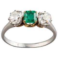 Platinum Diamonds and Emerald French Antique Ring