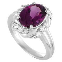 Platinum Diamonds and Pink Tourmaline Cabochon Ring