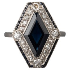 Platinum Diamonds and Sapphire French Art Deco Ring