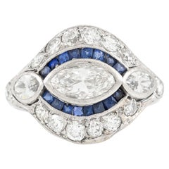 2.10 Carat Diamond and Sapphire Ring