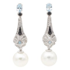 Platinum, Diamonds, Aquamarines, Onyx and Pearls Dangle/Drop Earrings