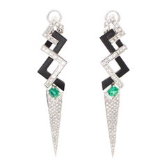 Platinum Diamonds Fancy Cuts, Emeralds, Onyx, Clip-On Fashion Earrings