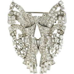 Platinum Double Clip Brooch with Diamonds