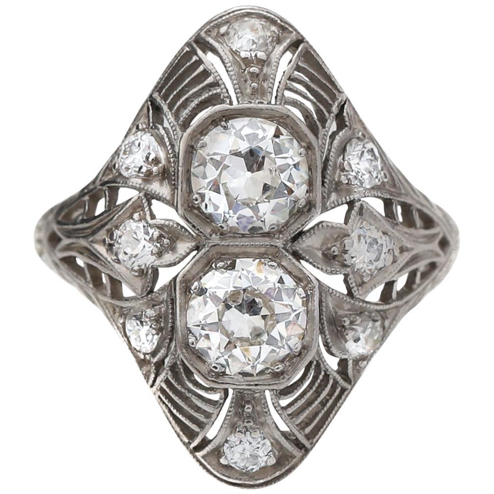 Platinum Double Decker 1.70 Carat Diamond  Deco Ring, circa 1920s