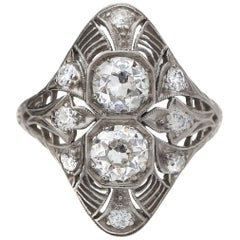 Platinum Double Decker 1.70 Carat Diamond  Deco Ring, circa 1920s