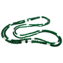 Platinum Double Strand Emerald Bead and Diamond Designer Tiffany & Co. Necklace