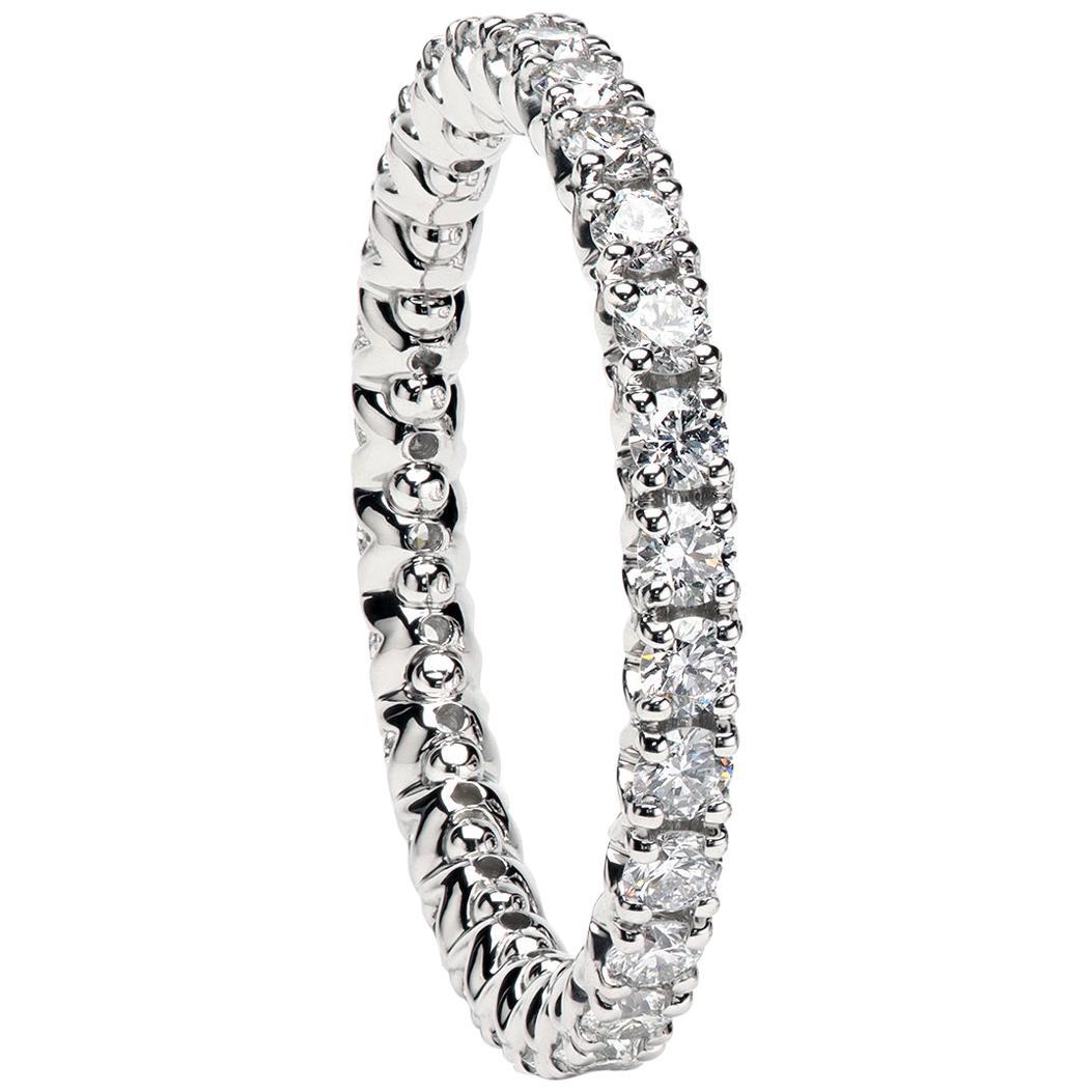 "Platinum ""Duvet"" Wedding Band Set with Round Diamonds by Leon Mege"