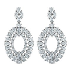 Platinum Earrings with 31.27 Carat of Fancy Shapes Diamonds