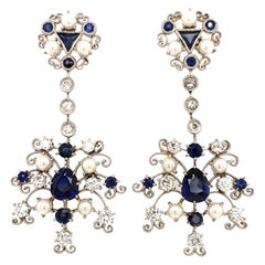 Platinum Earstuds with Sapphires, Diamonds, and Cultured Pearls