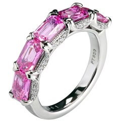 Platinum East West Band with Pink Emerald Cut Natural Sapphires by Leon Mege