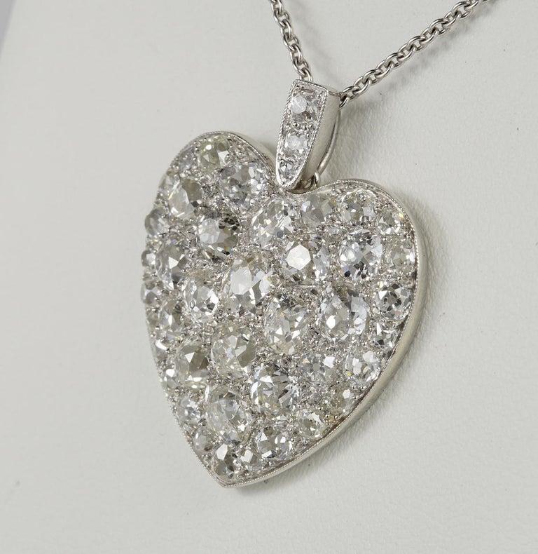Women's Platinum Edwardian 6.0 Carat Mine Cut Diamond Rare Sentimental Heart Necklace For Sale