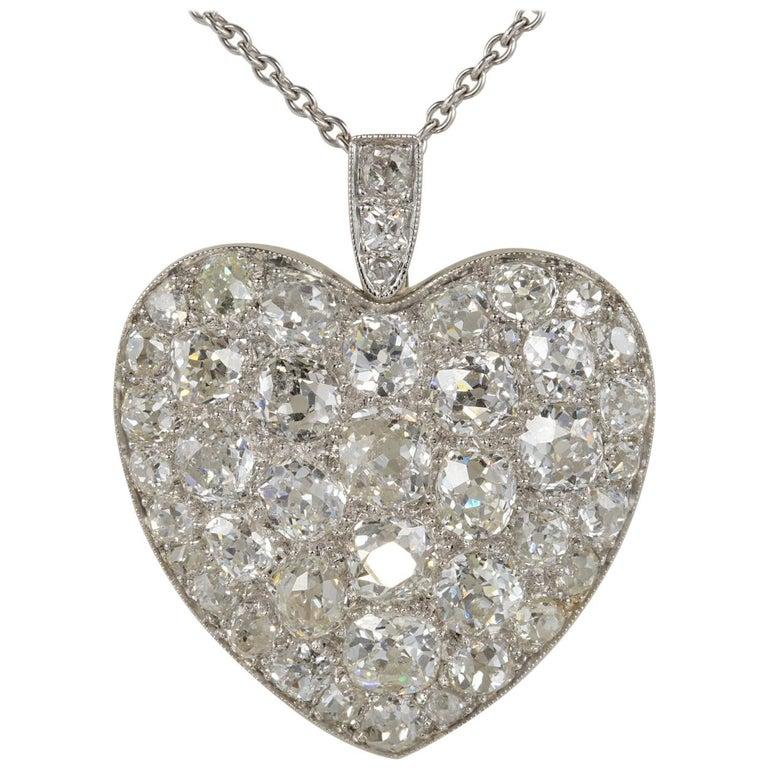 Platinum Edwardian 6.0 Carat Mine Cut Diamond Rare Sentimental Heart Necklace For Sale