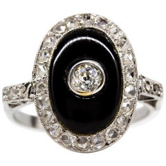 Platinum Edwardian Diamond and Onyx Ring