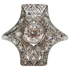 Platinum Edwardian Diamond Filigree Ring, circa Late 1800s