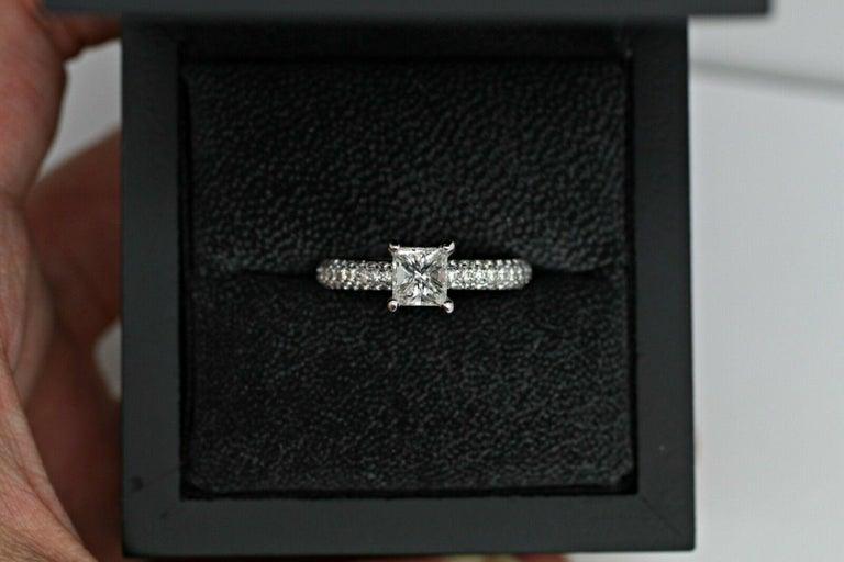 Platinum EGL Certified princess cut diamond 1.00ct. color