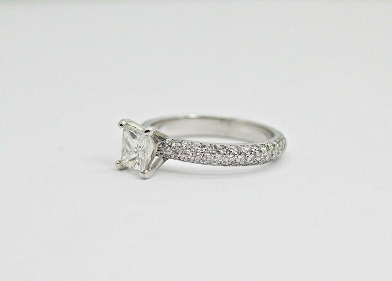 Contemporary Platinum EGL Certified Princess Cut Diamond 1.00ct Color