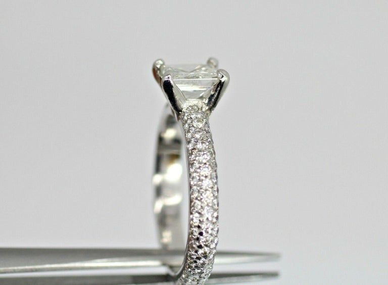 Women's or Men's Platinum EGL Certified Princess Cut Diamond 1.00ct Color