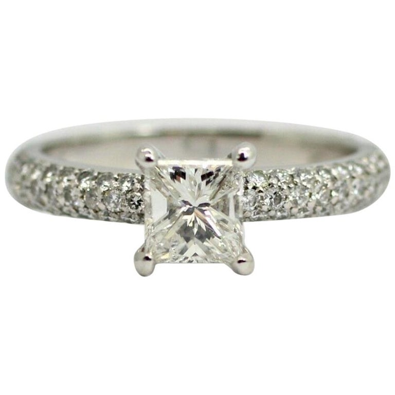"Platinum EGL Certified Princess Cut Diamond 1.00ct Color ""F"", Clarity SI2 Total For Sale"