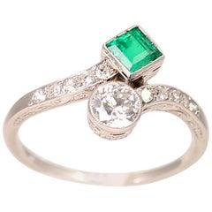 Platinum Emerald and Diamond Bypass Ring
