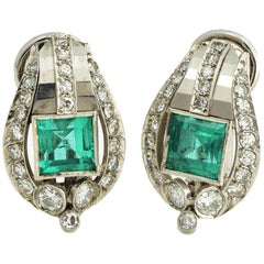 Platinum Emerald and Diamond Clip Earrings