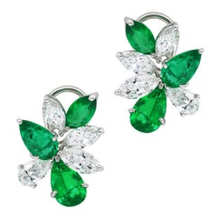 Platinum Emerald and Diamond Cluster Earrings