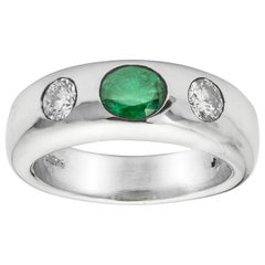 Platinum Emerald and Diamond Gypsy Ring