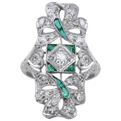 Platinum Emerald and Diamond Panel Ring