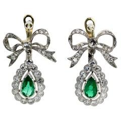 Platinum Emerald Bow Earrings