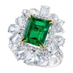 Platinum Emerald Cocktail Ring