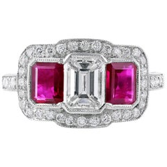 Platinum Emerald Cut Diamond and Ruby Ring