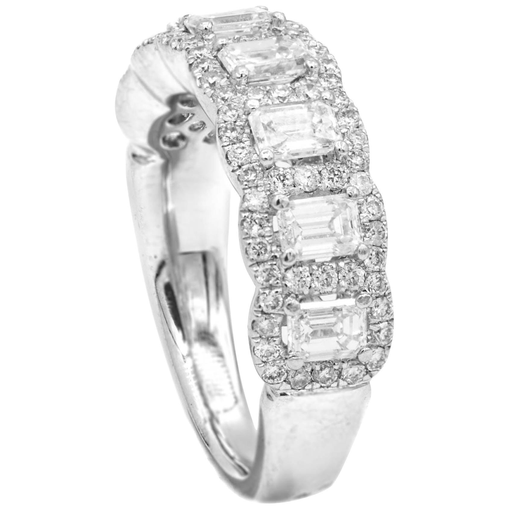 Platinum Emerald Cut Diamond Band