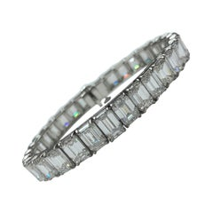 Platinum Emerald Cut Diamond Bracelet
