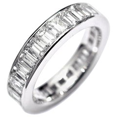 Platinum Emerald Cut Diamond Channel Set Eternity Ring Weighing 3.70 Carat