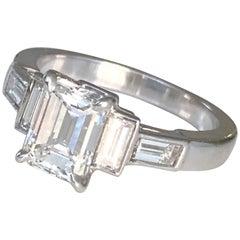 Platinum Emerald Cut Diamond  1.50 CT, Engagement Ring, GIA-EVS2