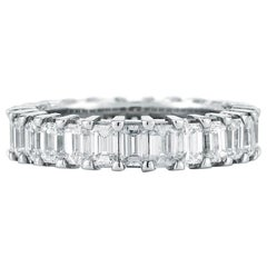 Platinum Emerald Cut Diamond Eternity Band 3.25 Carat