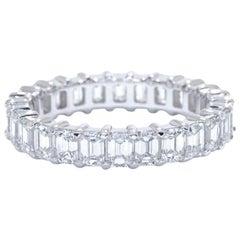 Platinum Emerald Cut Diamond Eternity Band 5.17 Carat