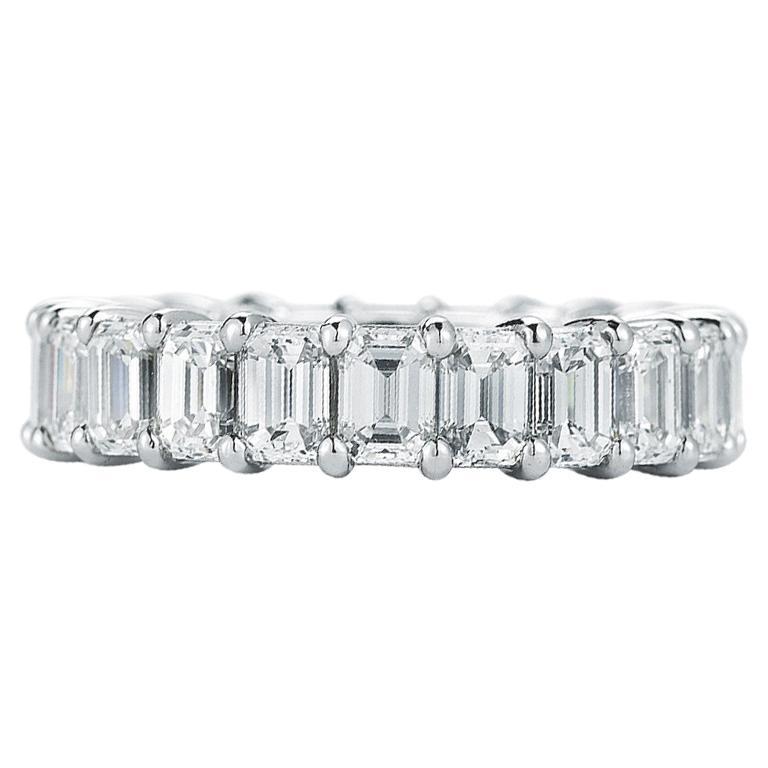 Platinum Emerald Cut Diamond Eternity Band 7.00 Carat