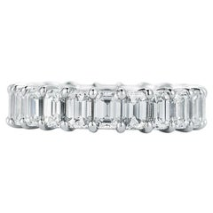 Platinum Emerald Cut Diamond Eternity Band 7.00 Carat