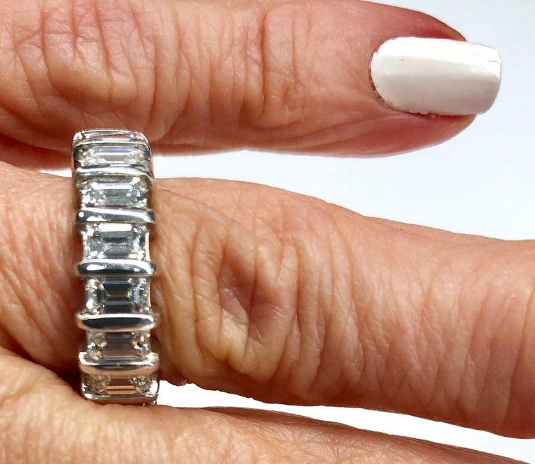 Platinum Emerald Cut Diamond Eternity Band For Sale 4