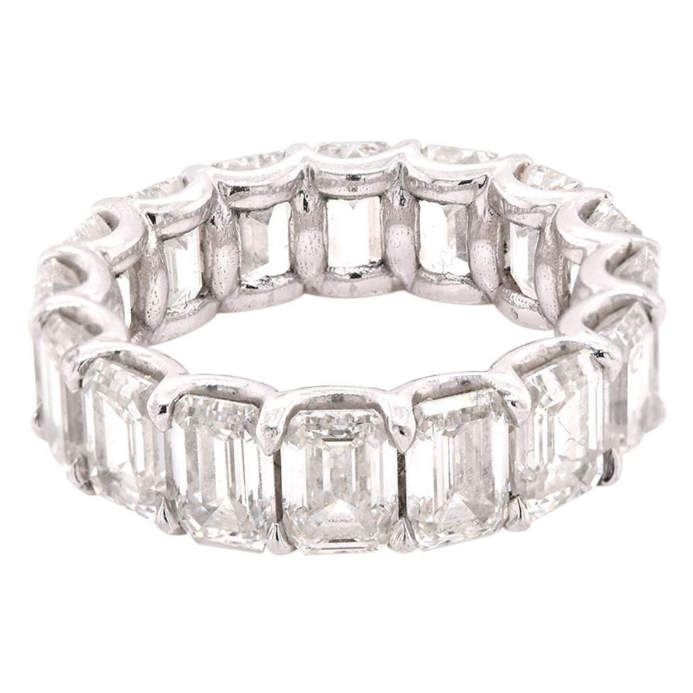 Platinum Emerald Cut Diamond Eternity Band