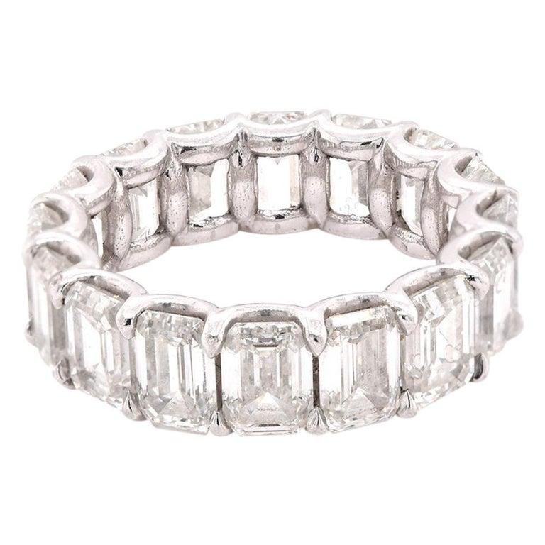 Platinum Emerald Cut Diamond Eternity Band For Sale
