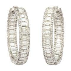 Platinum Emerald Cut Diamond Hoop Earrings