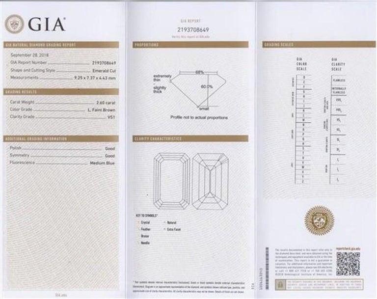Platinum Emerald Cut Diamond Ring 2.84 Carat In Good Condition For Sale In London, GB