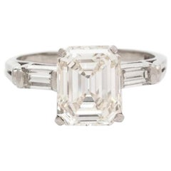 Platinum Emerald Cut Diamond Ring 2.84 Carat