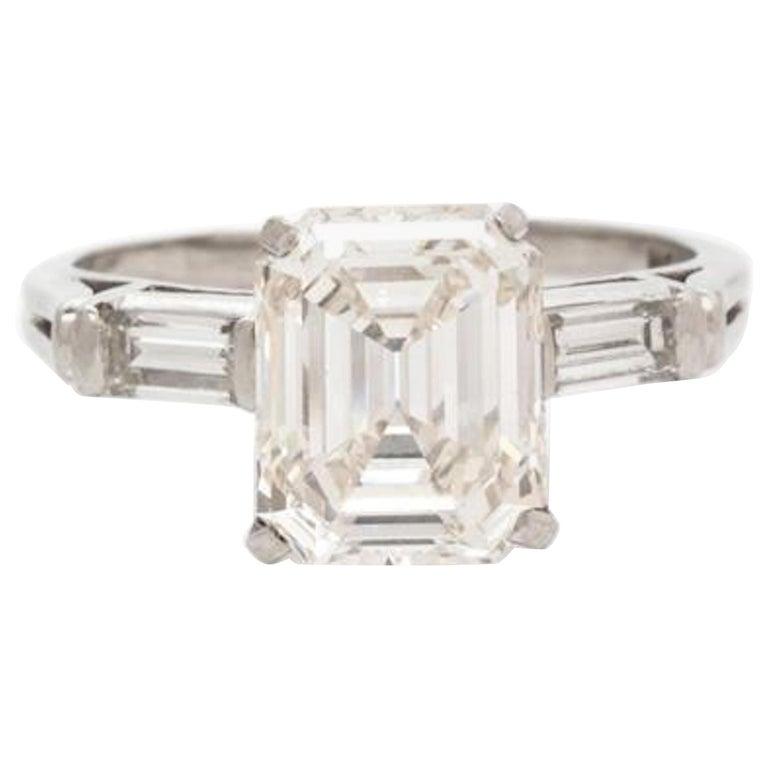 Platinum Emerald Cut Diamond Ring 2.84 Carat For Sale