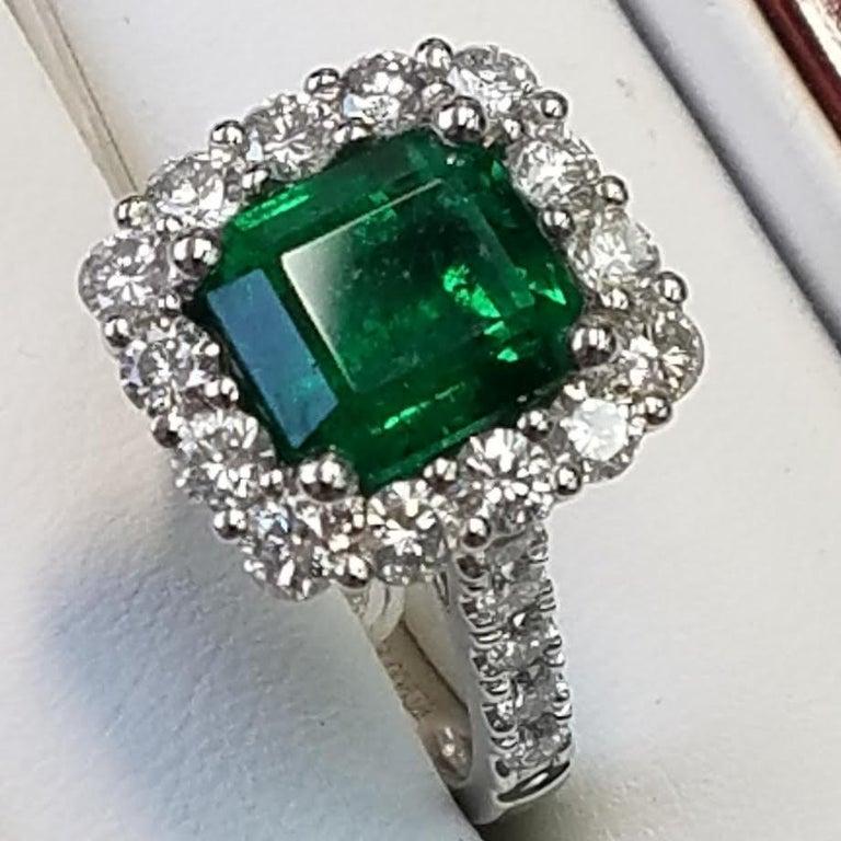 Platinum Emerald Cut Emerald and Diamond Ring 3.40 Carats of Emeralds 1.44 Carats of Diamonds Emerald Cut  Platinum