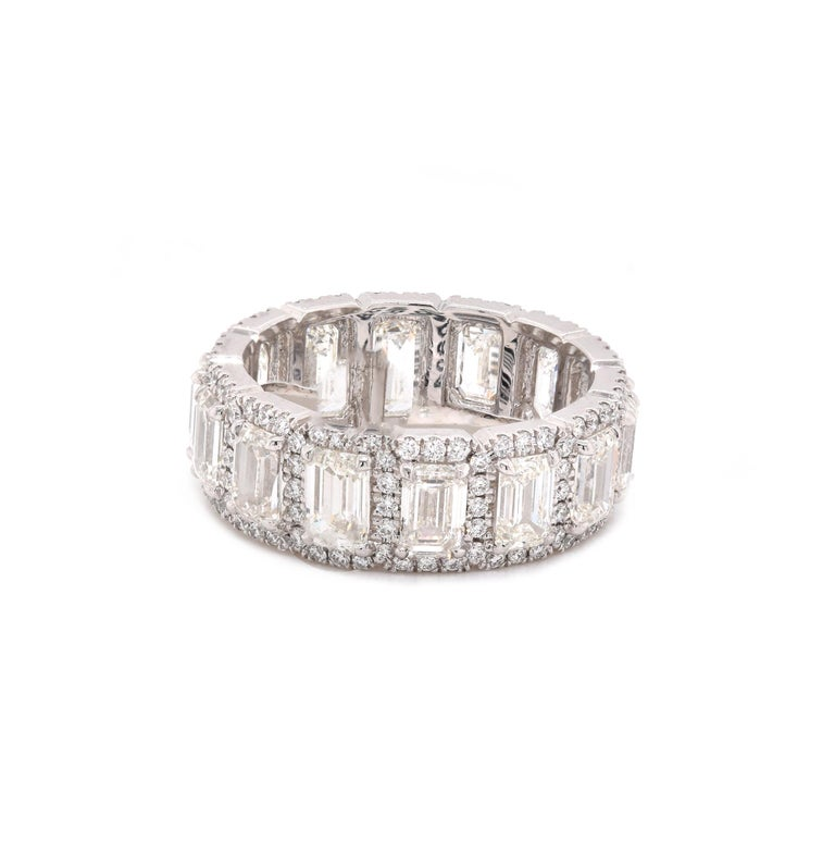 Platinum Emerald Cut Halo Diamond Eternity Band In Excellent Condition For Sale In Scottsdale, AZ