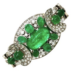 Platinum Emerald Diamond Bracelet, circa 1950