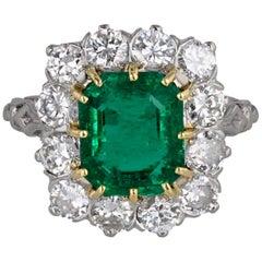 Platinum Emerald Diamond Cluster Ring