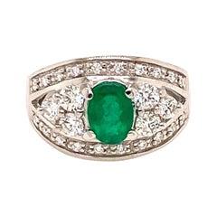 Platinum Emerald Diamond Cocktail Ring